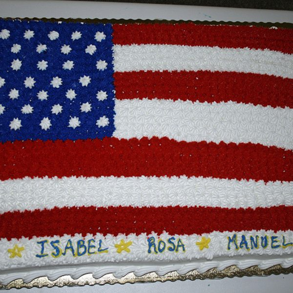 Flag cake for Ben, Isabel, Rosa, Manuel